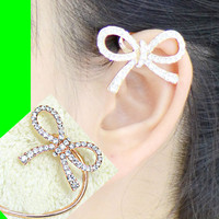 Bow Up Rhinestone Ear Cuff (No Piercing)