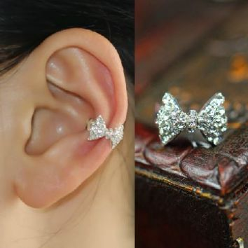 Sparkly Bow Rhinestone Ear Cuff (Single, No Piercing)