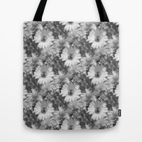 Gray Daisy Tote Bag by KCavender Designs