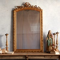 Antique Gilt 1890's Mirror Hand Carved Ribbon Crest