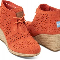 Orange Moroccan Cutout Women's Desert Wedges