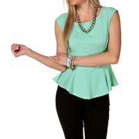 Mint Beaded Back Peplum Top