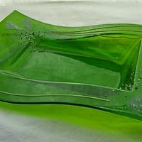 Groovy Green Glass Wavy Tray by Design4Soul