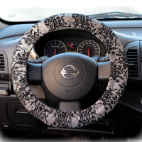 Steering-wheel-cover-for-wheel-car-accessories-Black-Silver-Lace-print
