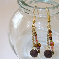 AROMA THERAPY Earrings, Personal Oil Diffuser Earrings, Lava Rock Multi Color Beaded Dangle Earring Essential Oils, Handmade OOAK Gift Idea