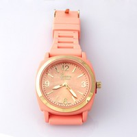 Peach Silicone Strap watch