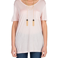 Oversized Single Pocket Tee - Light Pink