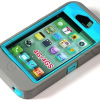 myLife (TM) Gray + Sky Blue Urban Armor (Built In Screen Protector) Hybrid Toughsuit Case for iPhone 4/4S (4G) 4th Generation Touch Phone (Thick Silicone Outer Shockproof Gel + Tough Rubberized Internal Shell + myLife (TM) Lifetime Warranty + Sealed In myL