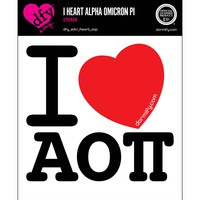 I Heart Alpha Omicron Pi Sticker