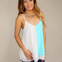 'Two-Faced' Cross Back Tank (Mint)