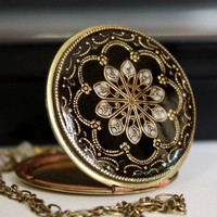 Women's Locket Necklace Upcycled Vintage Black Resin Filigree Locket Photo Locket Picture Locket Special Gift For Her