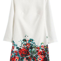 ROMWE Floral Hem Long-sleeves White Shift Dress