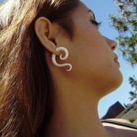 Fake gauge Organic small Bone Earrings Split Expander Cheater Tribal Earrings