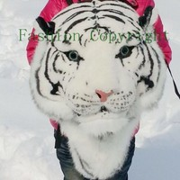 Cool Huge Fashion Tiger Head Lion White Tiger Head Bag Knapsack Backpack (white tiger)