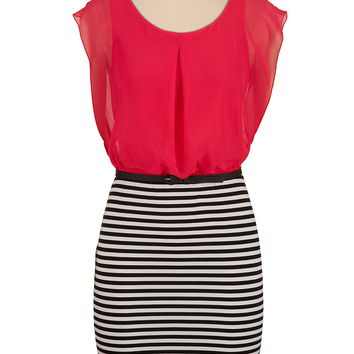 chiffon top striped skirt belted dress