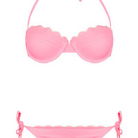PINK SCALLOP TEXTURE BIKINI TOP AND PANTS