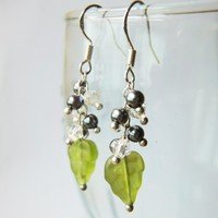 Metallic Grey Berries Swarovski White Crystals Glass Leaves Earrings | LittleApples - Jewelry on ArtFire
