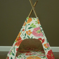 "Small Pet Tent/Teepee- 24"" base - re-purposed pottery barn fabric - Tenthouse Suite by Vintage Kandy"