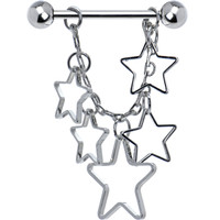 Silver Hollow Star Chain Drop Nipple Ring | Body Candy Body Jewelry
