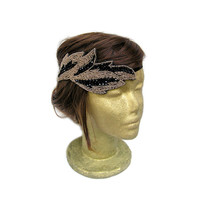 Gold and Black 1920s Great Gatsby Leaf Headband, Roaring 20s Art Deco Headband, Bridal Leaf Headpiece