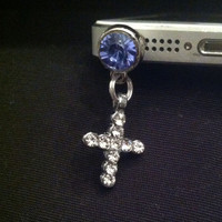 Cross Cell Phone Anti Dust Plug Rhinestone blue - US SELLER
