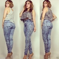 High Waist Blue Acid Wash Distressed Sides Jeans All Sizes!