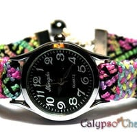 Friendship Bracelet Watch with Hematite Beads & Rhinestones Black/Rainbow Gradient