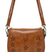 Braid Trimmed Brown Cross Body Bag in Brown