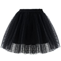 Polka Dots Tulle Skirt in Black