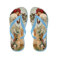Vintage Retro Art Nouveau Mucha 10 Flip Flops> Flip Flops> Beautiful Homes