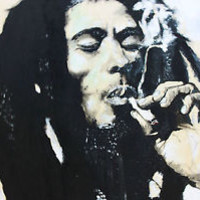 BOB MARLEY HAND PAINTING ON LARGE SIZE WOOD 24X36 FRAMED 26X36