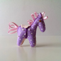Tiny Purple Felt Troy Horse Ornament. Self-standing Horse with Pink Saddle, Pink Ribbons and Pearly Beads. Room Decoration, Party Favour