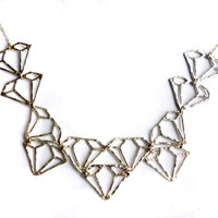 Sterling Silver Diamond Outline Collar Necklace