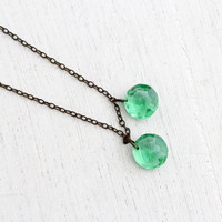 Antique Art Deco Green Crystal Necklace - Vintage 1930s Silver Tone Faceted Glass Costume Jewelry