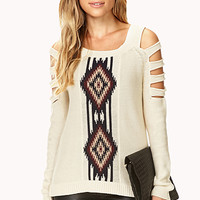 LOVE 21 Clear Cut Southwestern-Inspired Sweater Cream/Navy Small