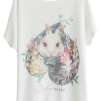 ROMWE Floral Heart Sugi Rabbit Print White T-shirt