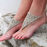 Tan Crochet Barefoot Sandals, Barefoot sandles, Nude shoes, Foot jewelry, Bridal, Victorian Lace, Sexy, Yoga, Anklet, Beach, Pool