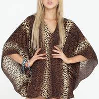 Leopard V-Neck Mini Kaftan Dress