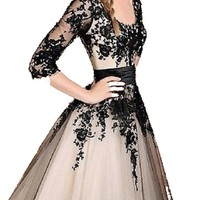 New Black Lace Prom Formal Evening Wedding Party Dress Stock Figure Color custom