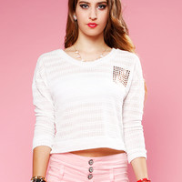 Papaya Clothing Online :: STUDDED CROP LIGHT SWEATER TOP