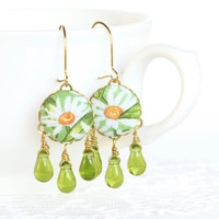 Dangle Earrings - Daisies on Green - White Yellow Flowers Green Leaves - Fresh Summer Fabric Covered Buttons Earrings with Czech Glass Beads