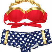 Wonder Woman Bandeau Cheeky Short Bikini Swimsuit