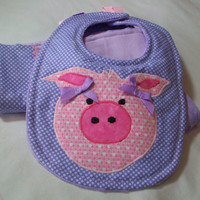 Baby Bib and Burp Cloth Set - Appliqued Pig Bib - Baby Girl Gift Set