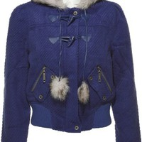 JOU JOU Twill Faux Fur Cropped Jacket...