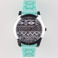 Tribal Print Watch Mint One Size For Women 22386752301