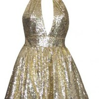 Gold Sequin Halter Skater Dress