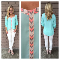 Mint Neon Embroider Neck Blouse