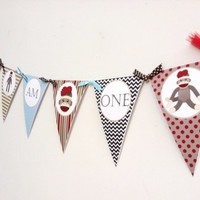 I am One Sock Monkey Banner Decoration for First Birthday Party | adorebynat - Seasonal on ArtFire