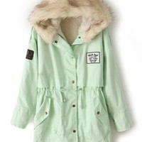 Sheinside Mint Green Fur Hooded Zipper Embellished Fleece Inside Military Coat