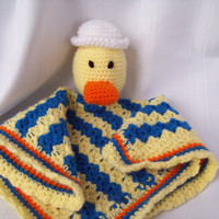 Crochet Sailor Duck Security Blanket, Baby Duck Lovey,Crochet Snuggle Buddy Blanket Toy, Stuffed Duck Toy